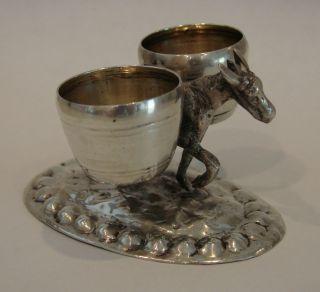 Italian Solid Silver Donkey Double Open Salt Cellar Dish Dip 2.  16 Ounces photo