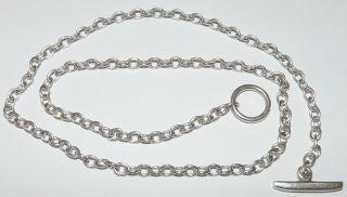 Edwardian Sterling Silver Albert 50 Cm Long Watch Chain photo