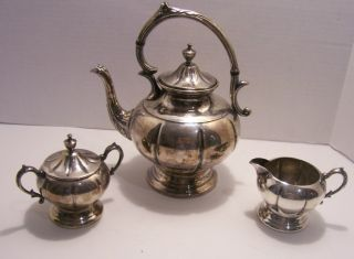 Vintage Sheridan Silver On Copper 3 Piece Teaset photo
