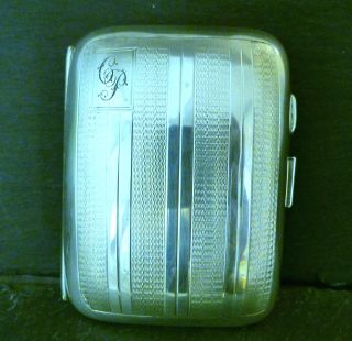 1931 London Sterling Silver Lined Pattern Ciggarette Case photo