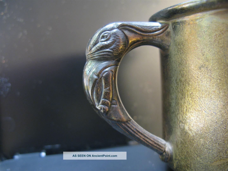 Sterling Silver Cup Peter Rabbit Handle Monogram ' 49 - Plus Bonus Sterling Spoon Cups & Goblets photo