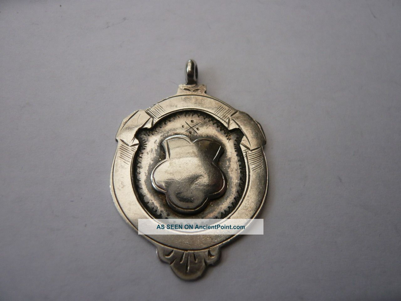 Vintage Sterling Silver Pocket Watch Chain Fob Medal 1920,  S Hm 1928 Fattorini Pocket Watches/ Chains/ Fobs photo