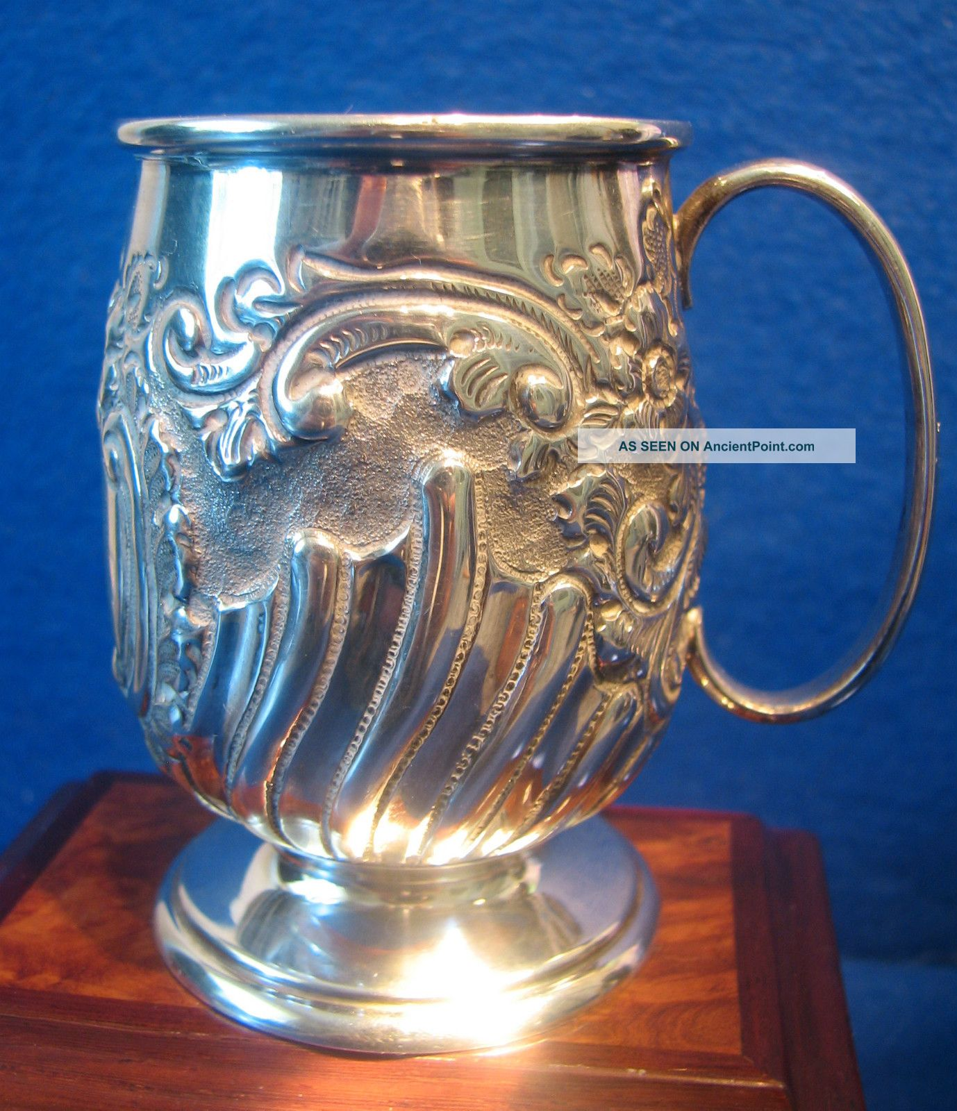 Perfect 1904 Solid Silver Ornate Tankard,  Edwardian Christening Tankard 84grm Cups & Goblets photo