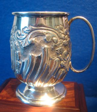 Perfect 1904 Solid Silver Ornate Tankard,  Edwardian Christening Tankard 84grm photo