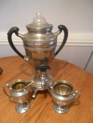 Art Deco Manning Bowman & Co.  Coffee Set Silverplate Bakelite Stunning L@@k photo