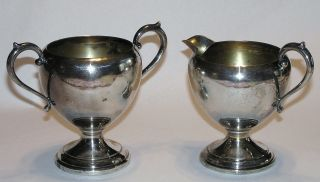 Vintage Preisner Psco Silver Plate 1935 - 1985? Open Sugar & Creamer photo