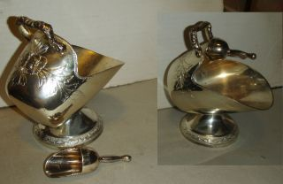 Vintage Silver Plated Coal Scuttle Sugar Bowl With Scoop photo