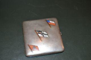 Antique European Enamel Silver Cigarette Case photo