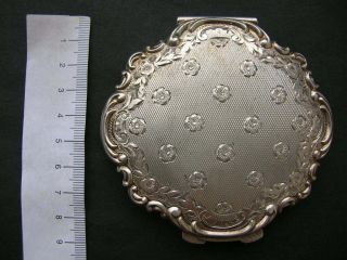 Antique Vintage Powder Compact Puff Box Case Marked Sterling 835 Silver Engraved photo