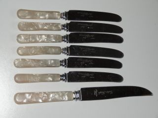 Silver Plated 6 Butter Knives Cutlery Set With Bakelite Handles photo