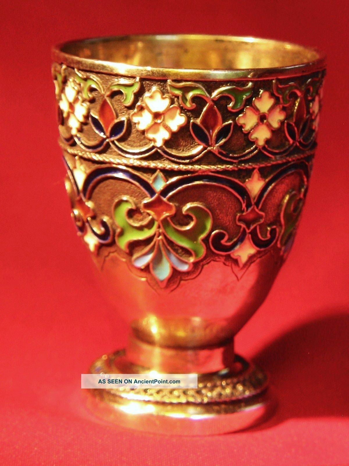Antique 19c Imp.  Russian 88 Silver & Enamel Vodka Cup By Maria Adler [1879 - 1882] Russia photo