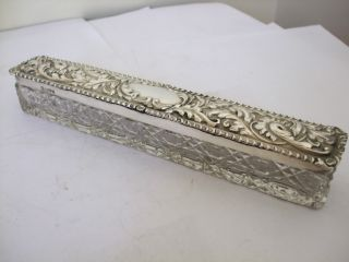 Fine Antique Repousse Silver Lidded Hatpin Hat Pin Box Chester 1904 Art Nouveau photo