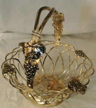 Vintage Godinger Silver Plate Fruit/bread Wire Basket Grapes & Leaves Pattern photo