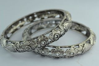 Asian Old Collectibles Decorated Handwork Tibet - Silver Flower Pair Bracelet photo