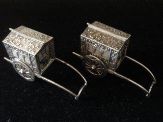 Sterling Silver 925 Salt & Peppers Shakers Japan Rickshaw Gypsy Wagon Trailers photo