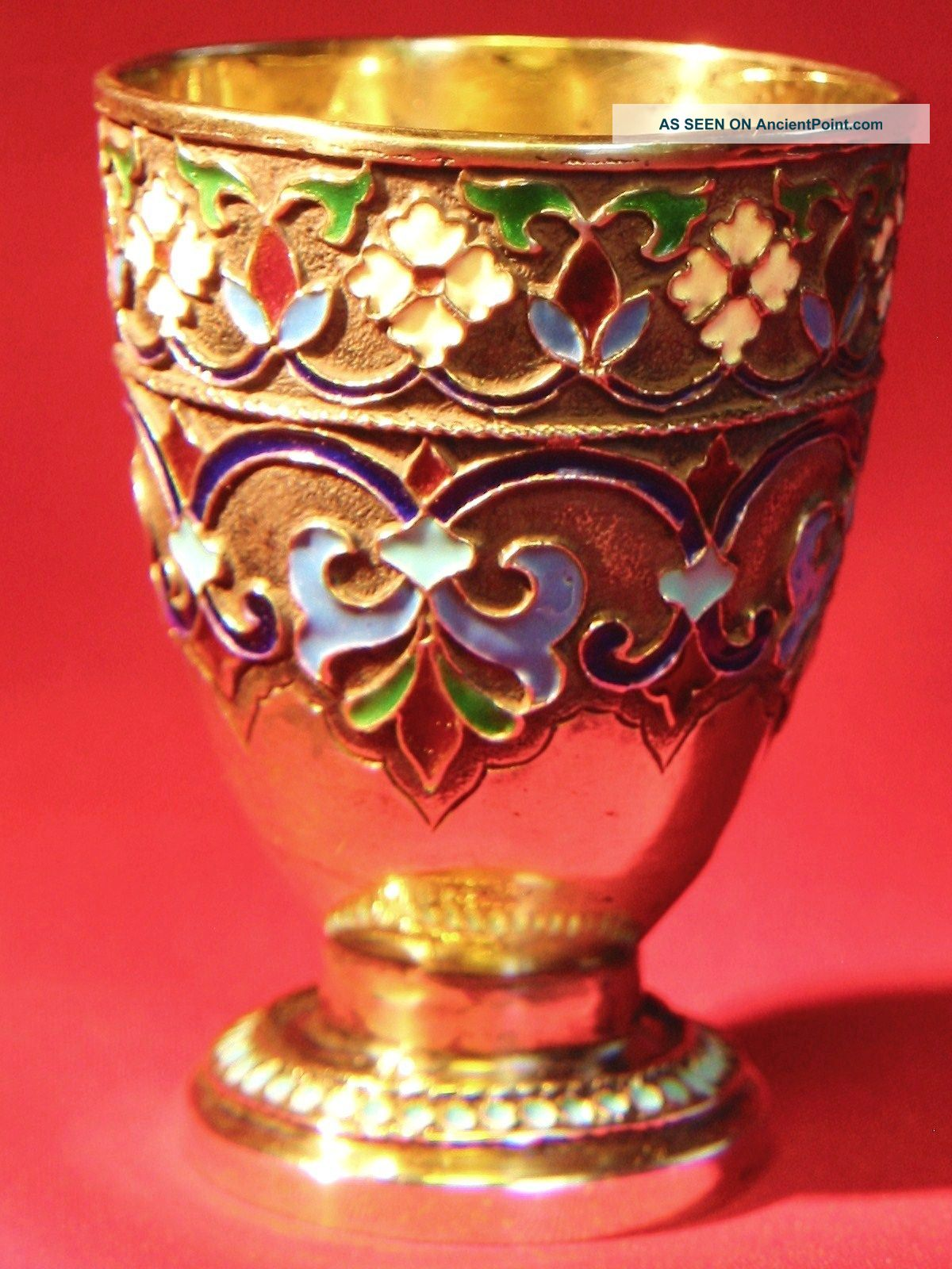 Antique 19c Imp.  Russian 88 Silver & Enamel Vodka Cup By Maria Adler (1879 - 1882) Russia photo