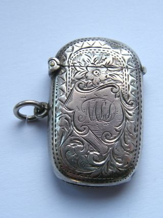 Antique - Victorian - Solid Silver Engraved Fob Vesta Case - B ' Ham - Circa 1901 photo