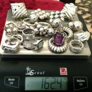 Estate Huge 925 Sterling Silver Lot Scrap Or Not 162.  4 Grams Rings Earrings photo