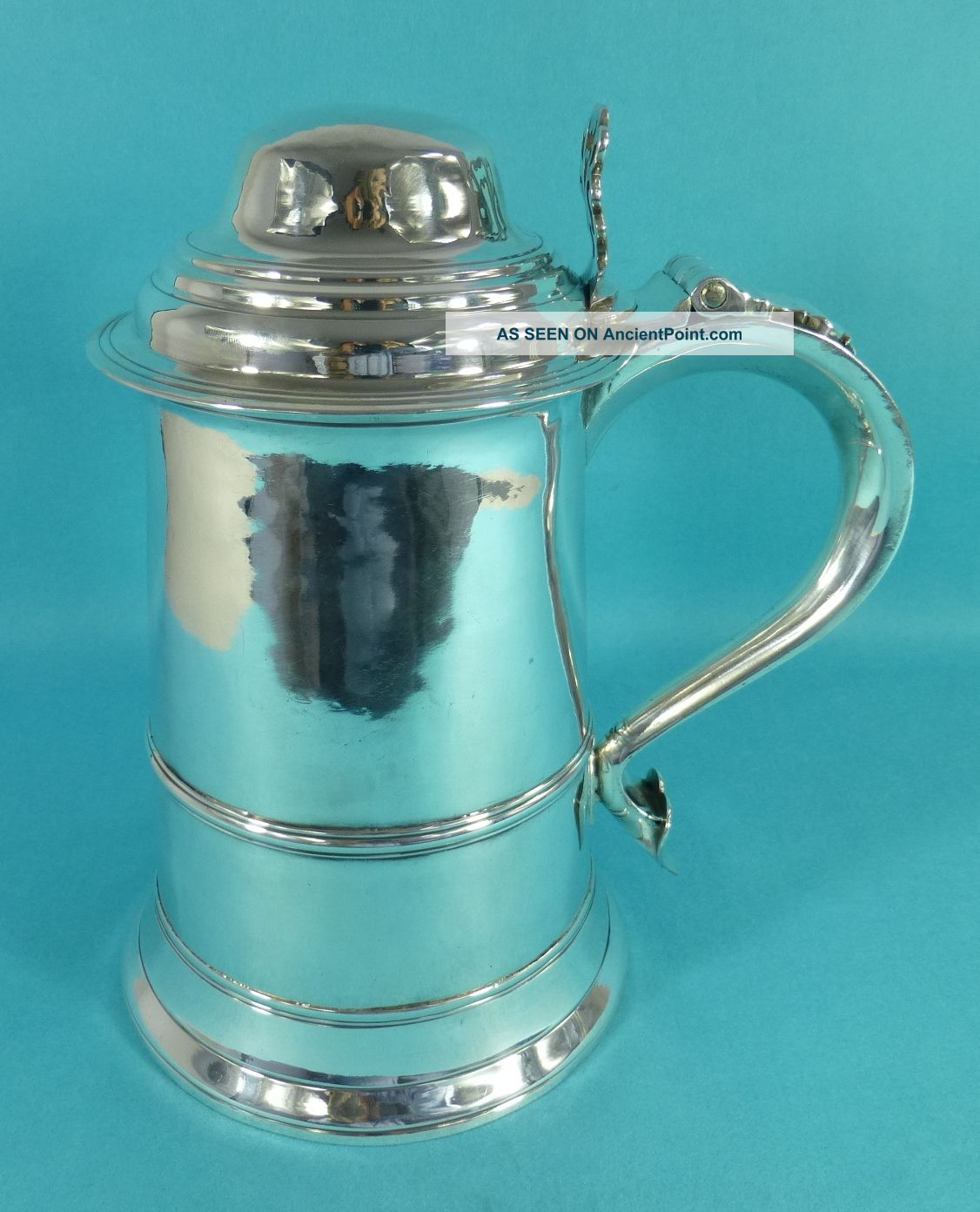 Large Georgian Sterling Silver Lidded Tankard John Schofield London 1777 Cups & Goblets photo