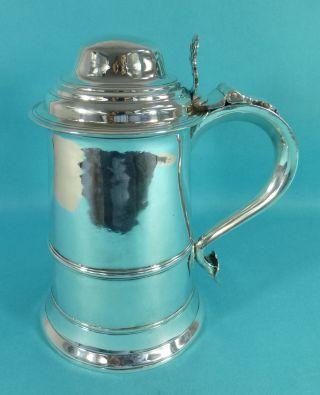 Large Georgian Sterling Silver Lidded Tankard John Schofield London 1777 photo