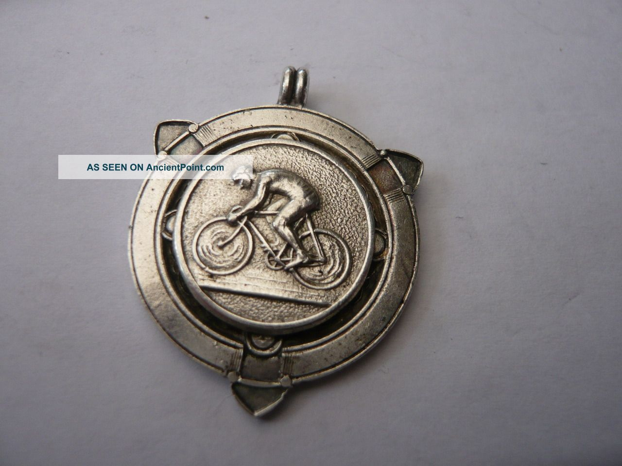 Vintage Old Sterling Silver Pocket Watch Chain Fob Medal Cycle Bikes Luton 1941 Pocket Watches/ Chains/ Fobs photo