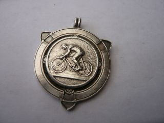 Vintage Old Sterling Silver Pocket Watch Chain Fob Medal Cycle Bikes Luton 1941 photo