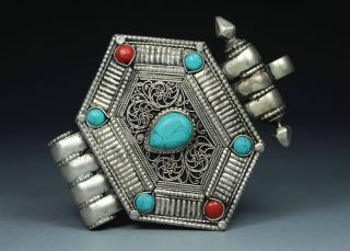 Chinese Old Miao Silver Handwork Inlay Turquoise Coral Jewel Box photo