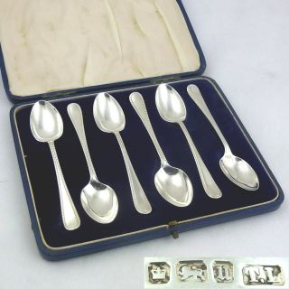 Antique Set Six Solid Silver Tea Coffee Spoons 1912 Hallmarked Sterling Nr photo