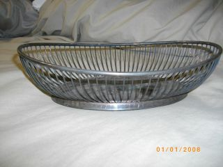 Vintage Silverplate Oval Wire Basket Made In Italy photo