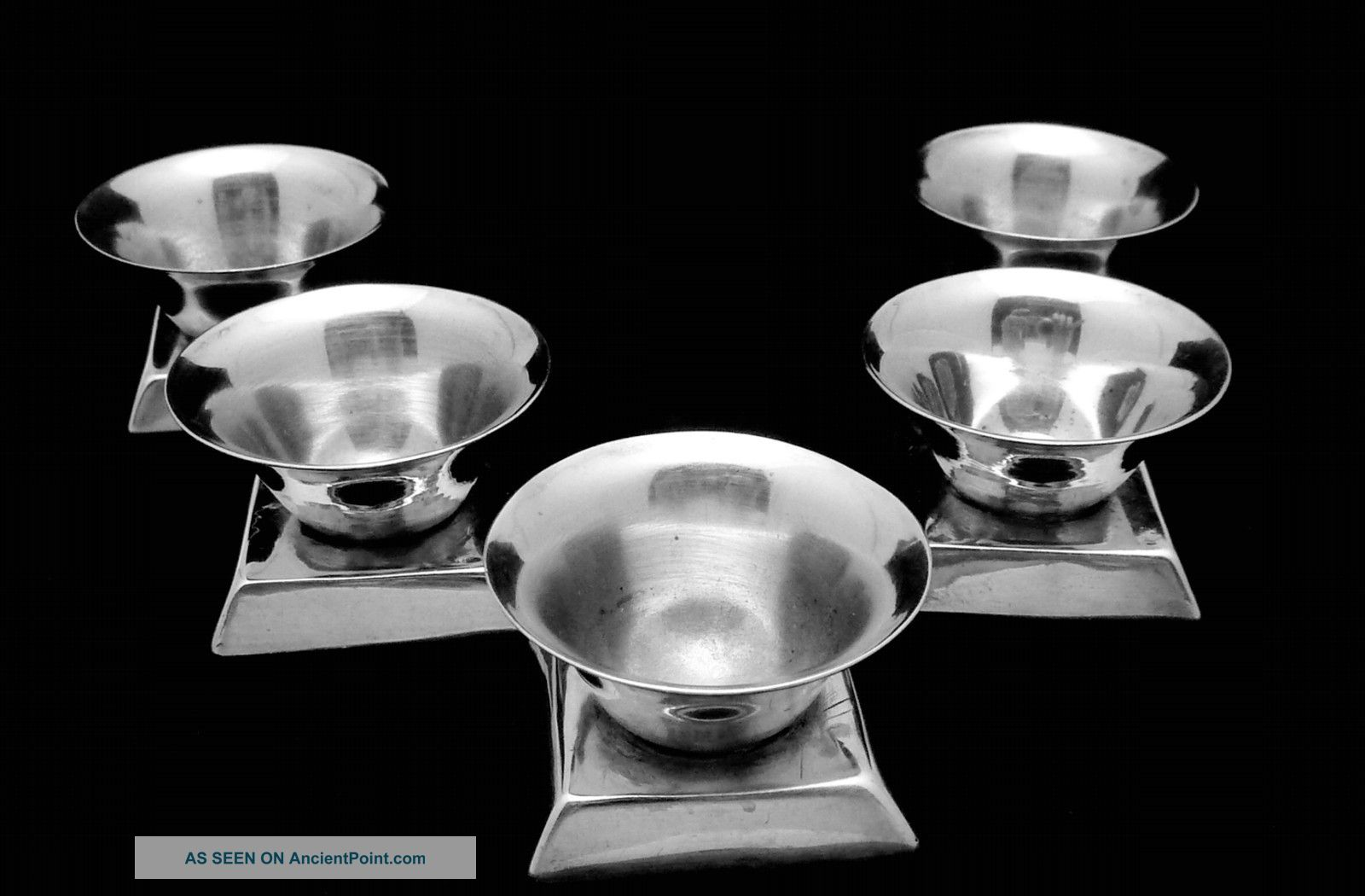 Vintage Spratling Taxco Mexico Mexican Silver Sterling Salt Dish Set Of 5 14784 Mexico photo