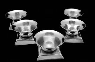 Vintage Spratling Taxco Mexico Mexican Silver Sterling Salt Dish Set Of 5 14784 photo