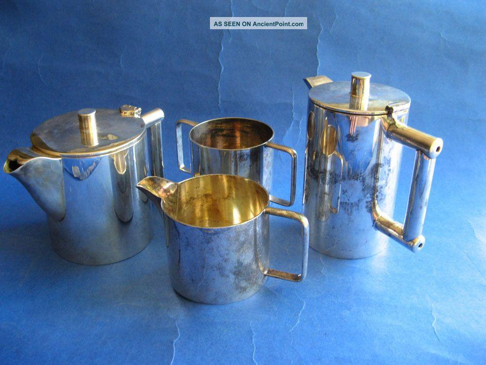 English Silverplated Tea Coffee Art Deco Set Signed Hallmarked United Kingdom photo