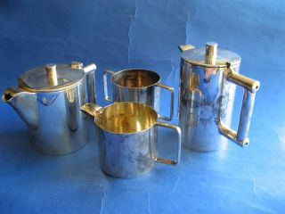 English Silverplated Tea Coffee Art Deco Set Signed Hallmarked photo