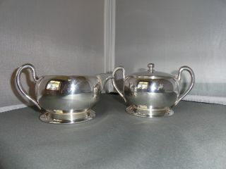 Vintage Silver Plated On Copper Creamer,  Sugar Bowl & Tray photo