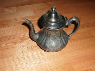 Vintage Homan Silver Plate Victorian Tea Pot Late 1800 ' S photo
