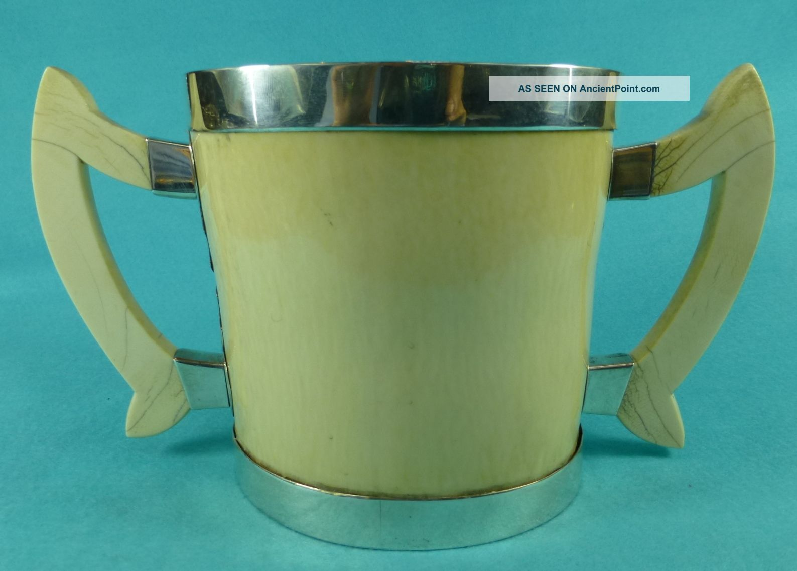 Magnificent Sterling Silver 2 Handled Art Nouveau Oval Tyg Cup W A Ellwick 1908 Cups & Goblets photo