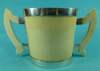 Magnificent Sterling Silver 2 Handled Art Nouveau Oval Tyg Cup W A Ellwick 1908 photo