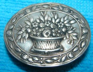 Silver Basket Of Flowers Pill / Snuff Box photo