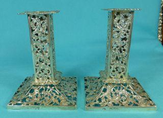 Stunning Pair Victorian Sterling Silver Candlesticks William Comyns London 1894 photo