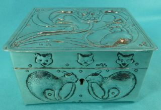 Rare Victorian Sterling Silver Table Cigarette Box Cats Robert Pringle 1896 photo