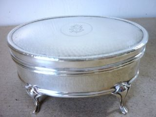 Antique Silver Oval Jewellery/ Trinket Box Chester 1910 photo