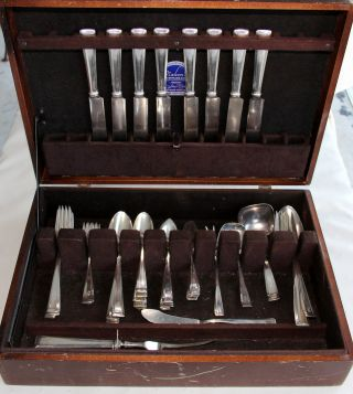 R.  Wallace Sterling Silver Pattern Cabot Late 1930s - 55 Pieces - photo