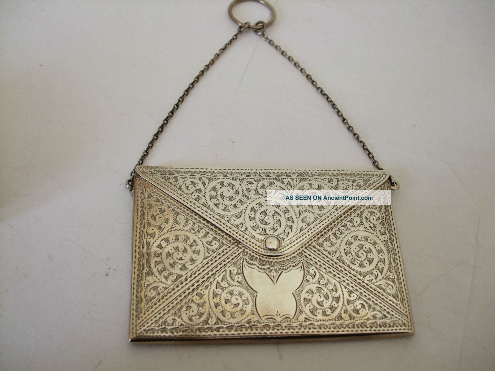 Antique Silver Engraved Envelope Card Case Hm 1906 Art Nouveau Swags And Swirls Card Cases photo