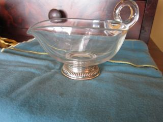 Vintage Glass Sauce Gravy Boat W/ Sterling Silver Base By Frank M.  Whiting photo