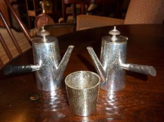 Arts And Crafts Silver Plated Hand Beaten Cafe Au Lait Set J Collyer And Co photo