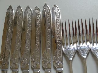 Silver Plated 6 Ornate Forks And 6 Knives Cutlery Set photo