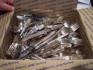 200 Plus Pieces Of Old Silverplate Flatware For Craft Projects Clean Good Estate photo
