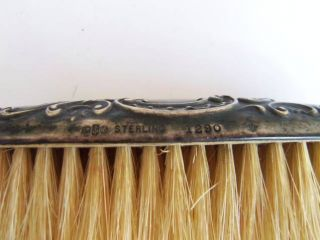 Antique Rare Vintage Sterling Silver Reprousse Clothes Brush photo