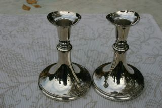 Pair Of Scandinavian 830 Silver Candlesticks. photo