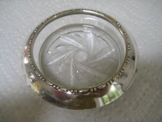 Set (4) Vintage Amston Sterling Silver Rim Glass Coasters photo